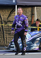 Feb 9, 2019; Pomona, CA, USA; NHRA funny car driver Jack Beckman during qualifying for the Winternationals at Auto Club Raceway at Pomona. Mandatory Credit: Mark J. Rebilas-USA TODAY Sports