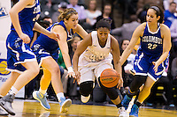 Penn guard Kamra Solomon (44) works through traffic during the IHSAA Class 4A Girls Basketball State Championship Game on Saturday, Feb. 27, 2016, at Bankers Life Fieldhouse in Indianapolis.