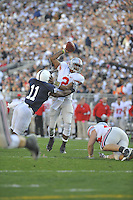 07 November 2009:  Ohio State QB Terrelle Pryor (2) breaks a tackle from Penn State LB Navorro Bowman (18) and then runs into the end zone for TD during the 1st quarter.  The Ohio State Buckeyes defeated the Penn State Nittany Lions 24-7 at Beaver Stadium in State College, PA..
