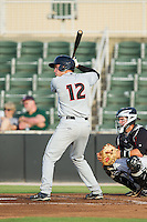 Austin Wynns (12) of the Delmarva Shorebirds at bat against the Kannapolis Intimidators at CMC-NorthEast Stadium on July 2, 2014 in Kannapolis, North Carolina.  The Intimidators defeated the Shorebirds 6-4. (Brian Westerholt/Four Seam Images)