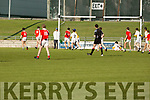 West Kerry's Seamus Ó Móinsil about to pull the trigger for a goal against the Castleisland District in the U14 County District Football Championship Plate final.