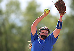 Western Nevada College Wildcats' Nicole Lesniak pitches against Shasta College in a preseason softball game in Reno, Nev., on Saturday, Sept. 20, 2014.<br /> Photo by Cathleen Allison