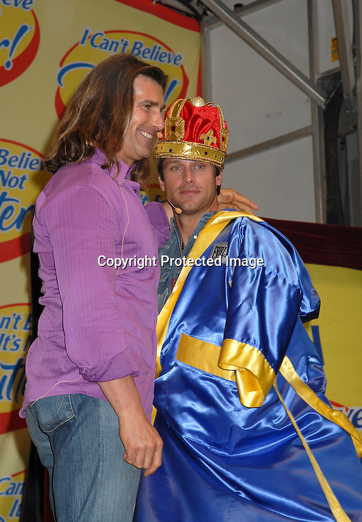 "Greg Vaughan  and Fabio aftering being announced as the winner..at The ""Love Games"" Competition to see who is the ..Next Spokesperson for ""I Can't Believe It's Not Butter"" ..on June 7, 2006 at Madison Square Park. ..Robin Platzer, Twin Images"