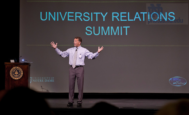 Aug. 15, 2012; Lou Nanni gives opening remarks at the 2012 University Relations Summit...Photo by Matt Cashore/University of Notre Dame