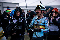 an emotional Thibau Nys (BEL) awaiting his Belgian Cycling teammates to celebrate his World Championship title. <br /> <br /> Men's Junior race<br /> UCI 2020 Cyclocross World Championships<br /> Dübendorf / Switzerland<br /> <br /> ©kramon
