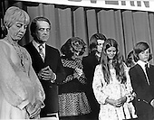 "Democratic National Committee Chairman Jean Westwood, left, and newly elected Democratic Vice Presidential nominee R. Sargeant Shriver, second left, stand with the Shriver family as the benediction is given at the close of the Democratic National Convention Special Session in Washington, D.C. on August 8, 1972.  Shriver takes the place of U.S. Senator Tom Eagleton (Democrat of Missouri) on the ticket with U.S. Senator George McGovern (Democrat of South Dakota)..Credit: Benjamin E. ""Gene"" Forte / CNP"