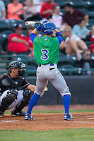 Tanner Stanley (3) of the Lexington Legends at bat against the Hickory Crawdads at L.P. Frans Stadium on April 29, 2016 in Hickory, North Carolina.  The Crawdads defeated the Legends 6-2.  (Brian Westerholt/Four Seam Images)