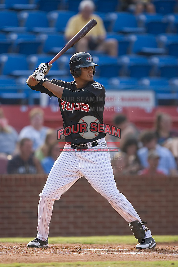 Salvador Sanchez (41) of the Winston-Salem Warthogs at bat at Ernie Shore Field in Winston-Salem, NC, Saturday August 9, 2008. (Photo by Brian Westerholt / Four Seam Images)