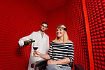 Pictured:  A woman takes part in The Grand Cork Experiment, a multi-sensory experiment to prove that wine seated with a cork closure tastes better than that with a screw top. <br /> <br /> Oxford University scientists are embarking on a ground-breaking experiment using brainscanning technology to determine whether wine tastes better from a bottle closed with a screwcap or a cork.  The unique study, developed by the University of Oxford's Crossmodal Research Laboratory, aims to finally end decades of debate about which method is best.<br /> <br /> Exploring the effect other senses have on our tastebuds, members of the public are being recruited to take part in the research.  The main experiment will see participants undertake a series of tests to assess how the sound, aroma, feel and sight of a series of different wine closures impacts on the taste of a wine.   SEE OUR COPY FOR DETAILS.<br /> <br /> &copy; Solent News &amp; Photo Agency<br /> UK +44 (0) 2380 458800