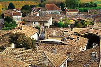 Saint Emilion, France, Bordeaux Wine Region, Gironde, Aquitaine, Europe, The rooftops of the medieval village of St. Emilion.