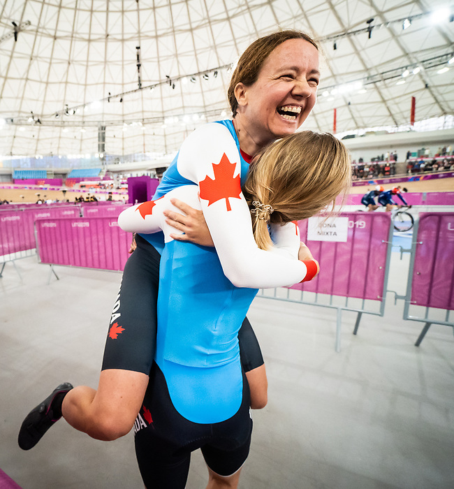 Lima, Peru -  27/August/2019 -   Annie Bouchard and Evelyne Gagnon compete in the women's 1000m time trial B at the Parapan Am Games in Lima, Peru. Photo: Dave Holland/Canadian Paralympic Committee.