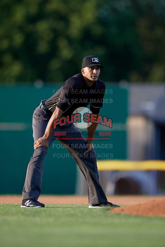 Umpire Jon-Tyler Shaw during a NY-Penn League game between the Auburn Doubledays and Batavia Muckdogs on June 14, 2019 at Dwyer Stadium in Batavia, New York.  Batavia defeated 2-0.  (Mike Janes/Four Seam Images)