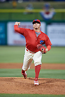 Clearwater Threshers relief pitcher Alexis Rivero (16) delivers a pitch during a game against the Dunedin Blue Jays on April 6, 2018 at Spectrum Field in Clearwater, Florida.  Clearwater defeated Dunedin 8-0.  (Mike Janes/Four Seam Images)