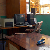"""A view of a workstation in the main office of a health center in Konso, Southern Ethiopia on August 31, 2010...Trachoma (Ancient Greek: """"rough eye"""") is an infectious eye disease, and the leading cause of the world's infectious blindness. Globally, 84 million people suffer from active infection and nearly 8 million people are visually impaired as a result of this disease. Globally this disease results in considerable disability..Ethiopia carries the largest burden of trachoma infection--30%--in Africa.   .1.3 million Ethiopians (15 years and older) have trichiasis, the advanced stage of trachoma, and need immediate surgery. .Of children aged 1-9 years, over 9 million--40%--have an active trachoma infection;  in some Ethiopian districts, more than 80% of children have active trachoma. .( Source: WHO 2008 ).."""