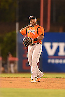 Bowie Baysox shortstop Sharlon Schoop (22) throws to first during a game against the Binghamton Mets on August 3, 2014 at NYSEG Stadium in Binghamton, New York.  Bowie defeated Binghamton 8-2.  (Mike Janes/Four Seam Images)