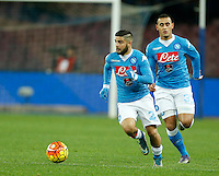 Napoli's Lorenzo Insigne  during the  italian serie a soccer match,between SSC Napoli and Sassuolo    at  the San  Paolo   stadium in Naples  Italy ,Napoli  wins  3-1
