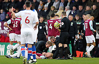 Burnley's Ben Mee receives treatment following a clash of heads with Crystal Palace's Jordan Ayew<br /> <br /> Photographer Rich Linley/CameraSport<br /> <br /> The Premier League - Burnley v Crystal Palace - Saturday 30th November 2019 - Turf Moor - Burnley<br /> <br /> World Copyright © 2019 CameraSport. All rights reserved. 43 Linden Ave. Countesthorpe. Leicester. England. LE8 5PG - Tel: +44 (0) 116 277 4147 - admin@camerasport.com - www.camerasport.com