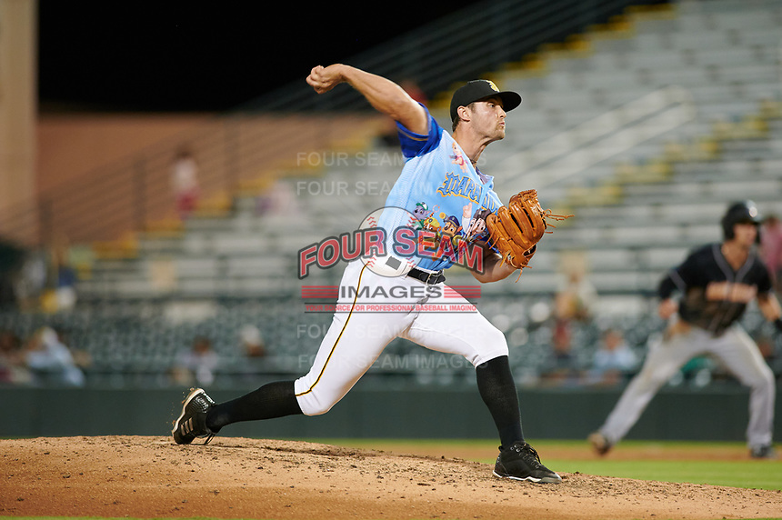 Bradenton Marauders relief pitcher Drew Fischer (23) during a Florida State League game against the Jupiter Hammerheads on April 20, 2019 at LECOM Park in Bradenton, Florida.  Bradenton defeated Jupiter 3-2.  (Mike Janes/Four Seam Images)