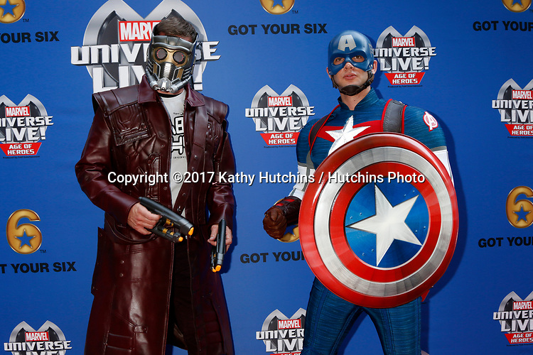 LOS ANGELES - JUL 8:  Star-Lord, Captain America at the Marvel Universe Live Red Carpet at the Staples Center on July 8, 2017 in Los Angeles, CA