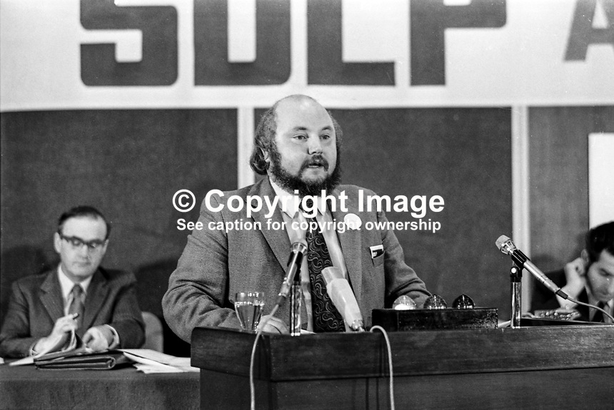 Economic and Social Affairs spokesman Paddy O'Hanlon SDLP speaking at annual party conference. He received a standing ovation. 2nd December 1973. 1973120205235<br /> <br /> Copyright Image from Victor Patterson, 54 Dorchester Park, <br /> Belfast, UK, BT9 6RJ<br /> <br /> t1: +44 28 9066 1296 (from Rep of Ireland 048 9066 1296)<br /> t2: +44 28 9002 2446 (from Rep of Ireland 048 9002 2446)<br /> m: +44 7802 353836<br /> <br /> e: victorpatterson@me.com<br /> www.victorpatterson.com<br /> <br /> Please see my Terms and Conditions of Use at www.victorpatterson.com. It is IMPORTANT that you familiarise yourself with them.<br /> <br /> Images used on the Internet must be visibly watermarked i.e. &copy; Victor Patterson<br /> within the body of the image and copyright metadata must not be deleted. Images <br /> used on the Internet have a size restriction of 4kbs and will be chargeable at current<br />  NUJ rates unless agreed otherwise.<br /> <br /> This image is only available for the use of the download recipient i.e. television station, newspaper, magazine, book publisher, etc, and must not be passed on to any third <br /> party. It is also downloaded on condition that each and every usage is notified within 7 days to victorpatterson@me.com<br /> <br /> The right of Victor Patterson to be identified as the author is asserted in accordance with The Copyright Designs And Patents Act (1988). All moral rights are asserted.