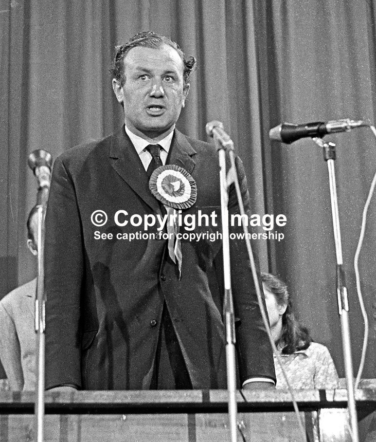 Henry Maitland Clark, the defeated Ulster Unionist candidate, in the June 1970 UK General Ellection, speaking at the Ballymena count. Clark, who had held the seat in the three previous General Elections, was a relative of the then Major James Chichester-Clark, who went on to become the penultimate N Ireland Prime Minister and in 1971 received a life peer taking the title Lord Moyola. 197006190230b.<br /> <br /> Copyright Image from Victor Patterson,<br /> 54 Dorchester Park, Belfast, UK, BT9 6RJ<br /> <br /> t1: +44 28 90661296<br /> t2: +44 28 90022446<br /> m: +44 7802 353836<br /> <br /> e1: victorpatterson@me.com<br /> e2: victorpatterson@gmail.com<br /> <br /> For my Terms and Conditions of Use go to<br /> www.victorpatterson.com
