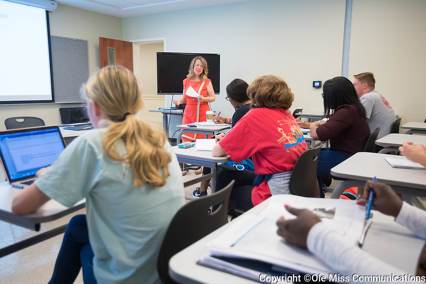 Alicia Canterbury touches on the Blues in her Music 103: Intro to Music class.  Photo by Kevin Bain/Ole Miss Communications