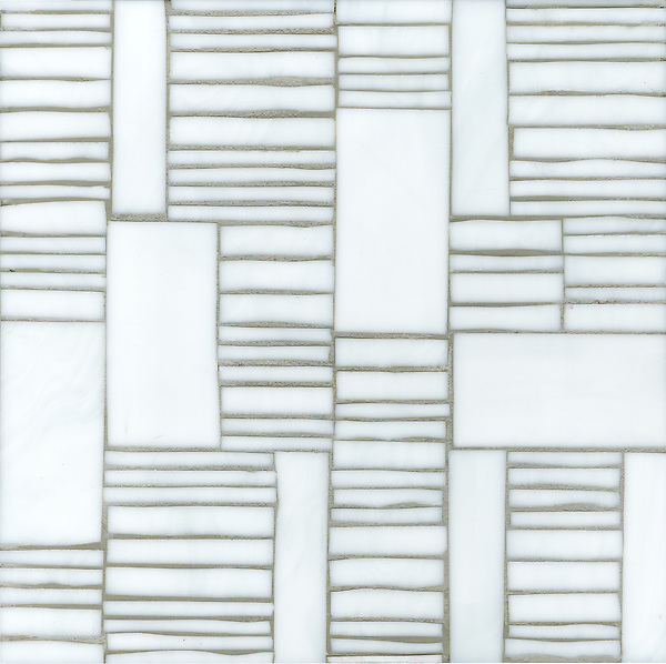 Kente, a hand cut glass mosaic  shown in Moonstone, is part of the Erin Adams Collection for New Ravenna.