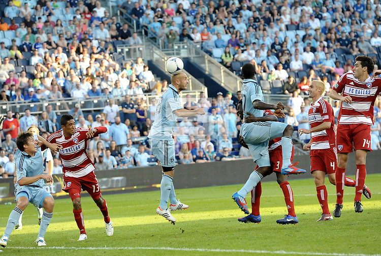 Sporting KC defender Aurelien  Collin's back header found the back of the net to tie the score up at 1-1... Sporting Kansas City defeated FC Dallas 2-1 at LIVESTRONG Sporting Park, Kansas City, Kansas.