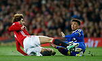 Marouane Fellaini of Manchester United in action with Mason Holgate of Everton  during the English Premier League match at Old Trafford Stadium, Manchester. Picture date: April 4th 2017. Pic credit should read: Simon Bellis/Sportimage