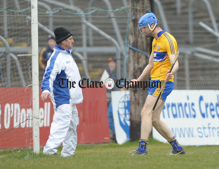 Clare's Darach Honan protests to an umpire during their national league game at Cusack park. Photograph by John Kelly.