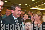 1785-1886.Tom Sheehan (FG) celebrates with his supporters as he is elected on the fifth count at the South Kerry count in The Malton Hotel, Killarney, last Friday...