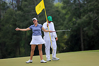 Jennifer Kupcho (USA) on the 18th green during the final  round at the Augusta National Womans Amateur 2019, Augusta National, Augusta, Georgia, USA. 06/04/2019.<br /> Picture Fran Caffrey / Golffile.ie<br /> <br /> All photo usage must carry mandatory copyright credit (© Golffile | Fran Caffrey)