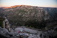 "Matera (Basilicata, Italy), 27/12/2015. Visiting Matera, <<a city and a province in the region of Basilicata (Lucania), in southern Italy. It is the capital of the province of Matera and the capital of Basilicata from 1663 to 1806. The town lies in a small canyon carved out by the Gravina. Known as ""la Città Sotterranea"" (the Subterranean City), Matera is well known for its historical center called ""Sassi"", considered World Heritage Site by UNESCO since 1993, along with the Park of the Rupestrian Churches. On October 17, 2014, Matera was declared Italian host of European Capital of Culture for 2019 (along with Plovdiv, Bulgaria). […]>> (Source - Wikipedia.org - http://bit.ly/1PB1pbs ). Numerous movies were filmed in Matera, amongst others: La Lupa 1953 - Alberto Lattuada; C'era Una Volta 1967 - Francesco Rosi; Allonsanfan 1974 - Paolo and Vittorio Taviani; Il Vangelo Secondo Matteo 1964 - Pier Paolo Pasolini; Cristo si è fermato a Eboli 1979 - Francesco Rosi; King David 1985 - Bruce Beresford; The Star Maker 1995 - Giuseppe Tornatore; The Passion of the Christ 2004 - Mel Gibson; Mary 2005 - Abel Ferrara; The Nativity Story 2006 - Catherine Hardwicke. Rumours circulating in Matera reported that the American Film Director, Francis Ford Coppola (<<[…] Born into a family of Italian immigrant ancestry, his paternal grandparents came to the United States from Bernalda, about thirty kilometre from Matera, Basilicata. His maternal grandfather, popular Italian composer Francesco Pennino, immigrated from Naples, Italy […] - Source Wikipedia.org) is allegedly set to film is new movie in Matera and other areas of Basilicata in 2016.<br />