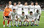 Real Madrid's team photo up fltr, Pepe, Sergio Ramos, Raul Albiol, Xabi Alonso, Karim Benzema and Kaka. Down fltr Iker Casillas, Marcelo, Raul, Esteban Granero and Lass Diarra during Champions League match. October 21, 2009. (ALTERPHOTOS/Alvaro Hernandez).