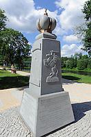 Denkmal zur litauisch polnischen Geschichte des 16.Jh. im Kurpark von Drusininkai, Litauen, Europa