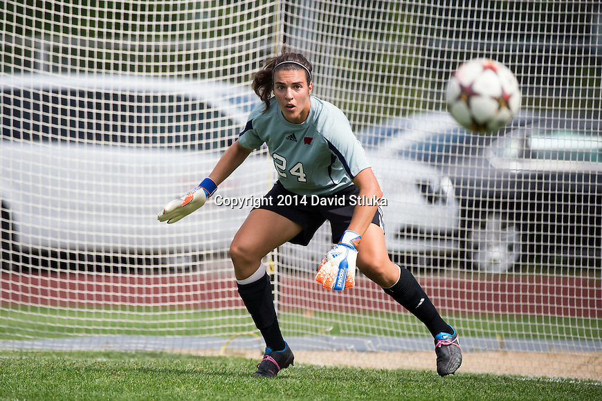 Wisconsin Badgers goaltender Genevieve Richard (24) defends during an NCAA women's soccer game against the Tennessee Lady Vols Sunday, August 24, 2014, in Madison, Wisconsin. the Badgers won 2-1 in overtime. (Photo by David Stluka)