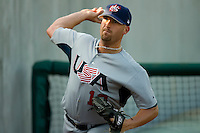 Starting pitcher Brad Lincoln #12 of Team USA warms up in the bullpen prior to pitching against Team Canada at the USA Baseball National Training Center, September 4, 2009 in Cary, North Carolina.  (Photo by Brian Westerholt / Four Seam Images)