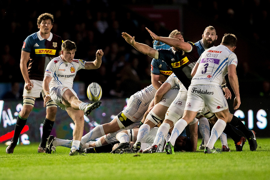 Exeter Chiefs' Jack Maunder in action during todays match <br /> <br /> Photographer Bob Bradford/CameraSport<br /> <br /> Aviva Premiership Round 20 - Harlequins v Exeter Chiefs - Friday 14th April 2016 - The Stoop - London<br /> <br /> World Copyright &copy; 2017 CameraSport. All rights reserved. 43 Linden Ave. Countesthorpe. Leicester. England. LE8 5PG - Tel: +44 (0) 116 277 4147 - admin@camerasport.com - www.camerasport.com