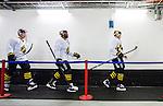 Stockholm 2014-10-14 Ishockey Hockeyallsvenskan AIK - Malm&ouml; Redhawks :  <br /> AIK:s Yared Hagos p&aring; v&auml;g ut till uppv&auml;rmningen med lagkamrater innan matchen mellan AIK och Malm&ouml; Redhawks <br /> (Foto: Kenta J&ouml;nsson) Nyckelord:  AIK Gnaget Hockeyallsvenskan Allsvenskan Hovet Johanneshov Isstadion Malm&ouml; Redhawks portr&auml;tt portrait