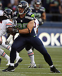 Seattle Seahawks tight end Zach Miller (86) blocks Chicago Bears Charles Tillman (33)  in the first quarter of a pre-season game at CenturyLink Field in Seattle, Washington on August 12, 2014.  Seattle beat Chicago 34-6. © 2014.  Jim Bryant Photo. ALL RIGHTS RESERVED.