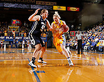 BROOKINGS, SD - NOVEMBER 14:  Mariah Clarin #40 from South Dakota State University drives against Savannah Irwin #42 from Brigham Young in the first half of their game Friday night at Frost Arena.  (Photo by Dave Eggen/Inertia)