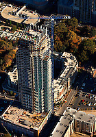 General contractor R.J. Griffin & Co. resumed construction of The Vue in October 2009. Work was halted on the 51-story condo tower in uptown Charlotte in early September. The 677-feet tall skyscraper will be one of the southern city's tallest residential buildings when its finished in 2010. The view is located in Charlotte's historic Fourth Ward neighborhood. It's located at Fifth and Pine streets in downtown Charlotte. Condo units of The View skyscraper range from $300,000 to more than $2 million.