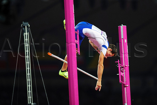 10.08.2012 London, England. Frances Renaud LAVILLENIE (FRA) wins the Gold Medal in the Mens Pole Vault Final during the Athletics on Day 14 of the London 2012 Olympic Games in the Olympic Stadium.