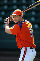Outfielder Shane Kennedy (11) of the Clemson Tigers prior to the Reedy River Rivalry game against the South Carolina Gamecocks on March 1, 2014, at Fluor Field at the West End in Greenville, South Carolina. South Carolina won, 10-2.  (Tom Priddy/Four Seam Images)