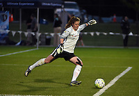 Kansas City, MO - Friday May 13, 2016: Chicago Red Stars goalkeeper Alyssa Naeher (1) against FC Kansas City during a regular season National Women's Soccer League (NWSL) match at Swope Soccer Village. The match ended 0-0.