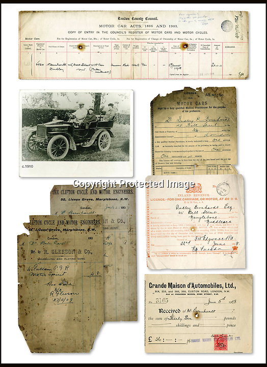 BNPS.co.uk (01202 558833)<br /> Pic: Bonhams/BNPS<br /> <br /> ****Please use full byline****<br /> <br /> Various documents from over 100 years ago.<br /> <br /> The car with no name...<br /> <br /> An ancient car that has been owned by the same family for so long nobody can remember what make it actually is has been put up for auction by an elderly woman whose grandfather bought it in 1908.<br /> <br /> The mystery motor dates back to 1903 but there are no surviving documents to confirm what the make and model of it are and the man who first bought it is long dead.<br /> <br /> In the earliest days of motoring there were many different manufacturers that sprang up to try their hand at the new technology, and it appears that this sturdy machine has long outlasted the company that made it.<br /> <br /> Despite its dubious origin the vehicle is still expected to sell for &pound;160,000.