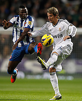 16.12.2012 SPAIN -  La Liga 12/13 Matchday 16th  match played between Real Madrid CF vs  RCD Espanyol (2-2) at Santiago Bernabeu stadium. The picture show Fabio Alexandre Coentrao (Potuguese defender of  Real Madrid)