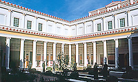 Malibu CA:  J. Paul Getty Museum.  Peristyle  (a courtyard surrounded by collonades) .  17985 Pacific Coast Highway. Photo '86