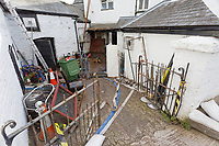 Pictured: The Bridge End Inn.<br /> Re: Cleanup after storm Dennis in Crickhowell, Wales, UK.