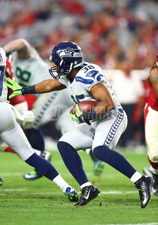 Jan 3, 2016; Glendale, AZ, USA; Seattle Seahawks running back Bryce Brown (36) against the Arizona Cardinals at University of Phoenix Stadium. Mandatory Credit: Mark J. Rebilas-USA TODAY Sports